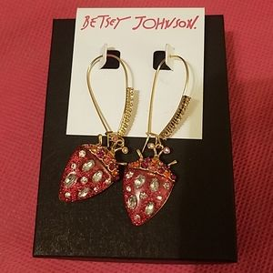 Betsey Johnson red gem dangle NWT